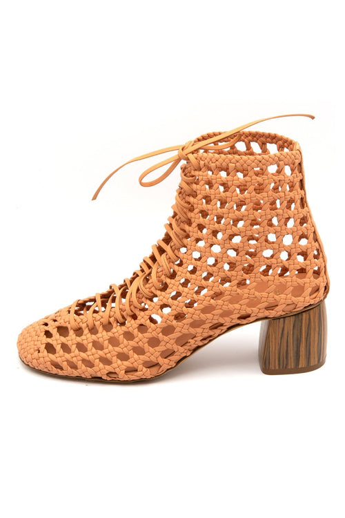 Chic Openworked Nappa Leather Booties in Naturale