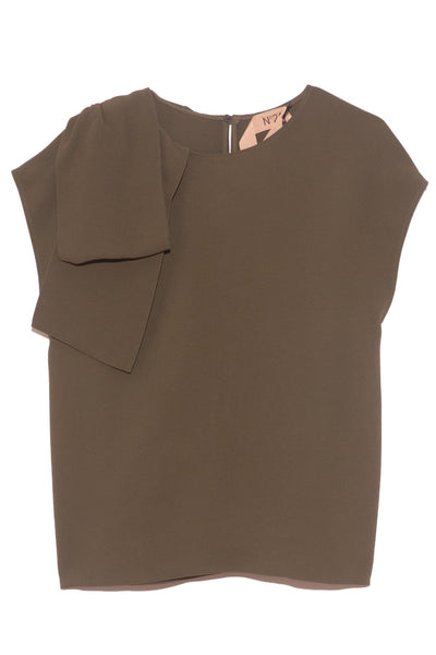 Bow Shoulder Blouse in Militare