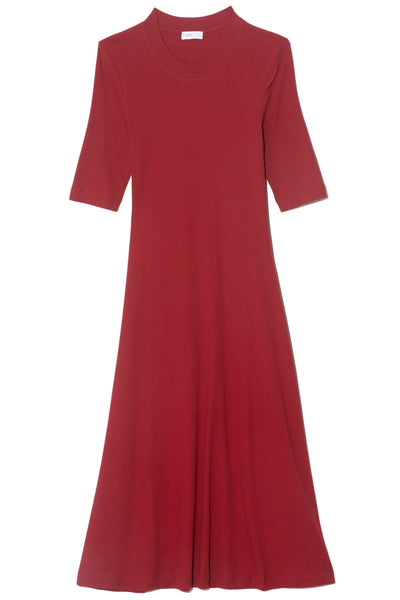 Cropped Sleeve T-Shirt Dress in Burgundy