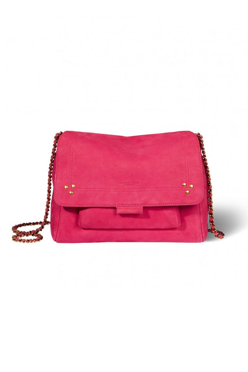 Lulu Medium Nubuck Goatskin Bag in Fuchsia