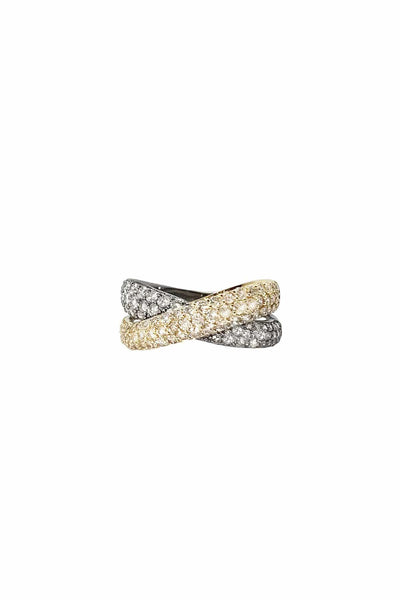 Criss Cross Ring in 14k Gold and Oxidized Sterling Silver