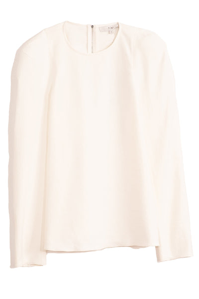 Chalky Drape Sculpted Shoulder Top in White