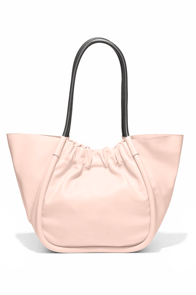 Large Ruched Smooth Calf Tote in Cameo Rose