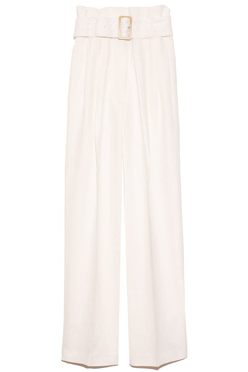 Cleofe Pant with Belt in Optic White