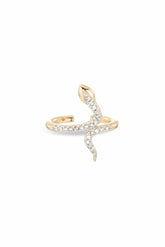 Pave Snake Ear Cuff in Yellow Gold