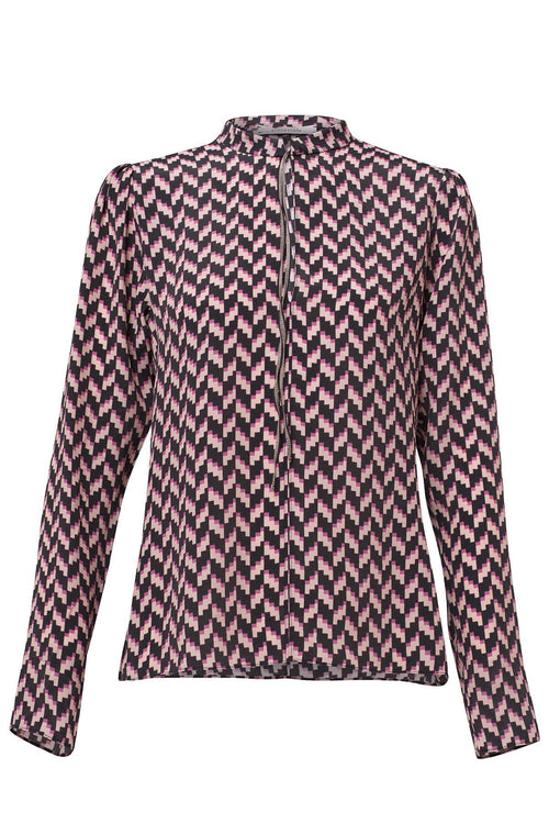 Graphic Power Blouse in Pink/Rose Pixel