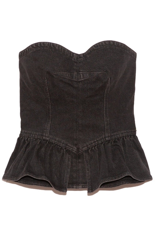 Dolizina Show Stretch Top in Faded Black