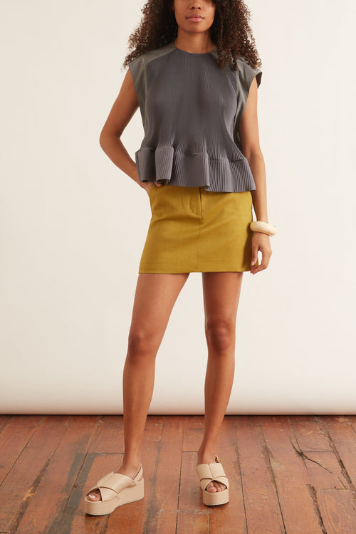 Pleating Yoke Pleated Top in Storm Grey