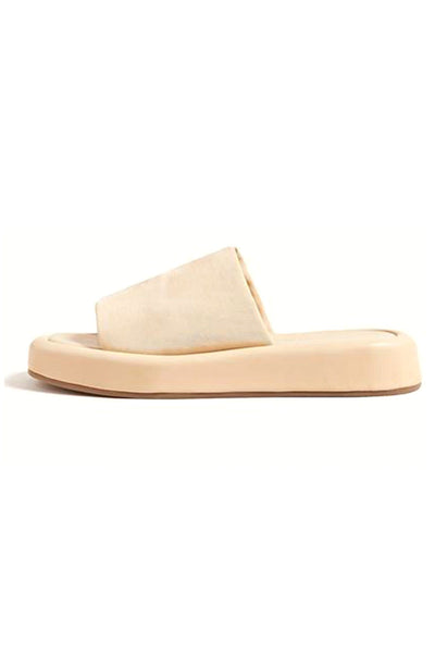 Deryn Stretch Square Toe Platform Slide Sandal in Tan