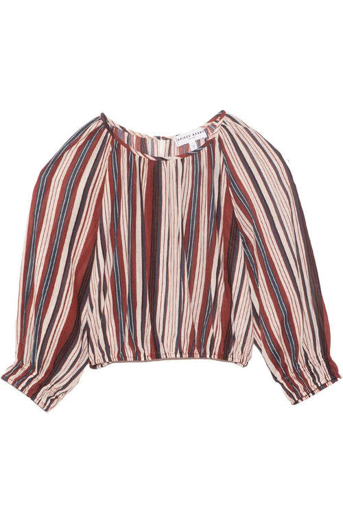 Kiran Shirred Crop Top in Sienna Stripe