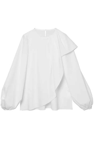 Puff Sleeve Blouse with Cascade Detail in White