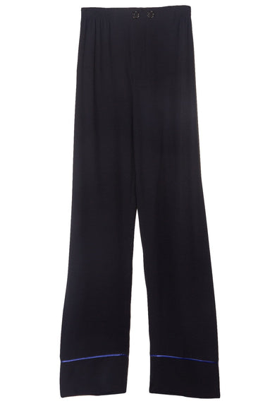 Button Front Contrast Piping Trousers in Navy
