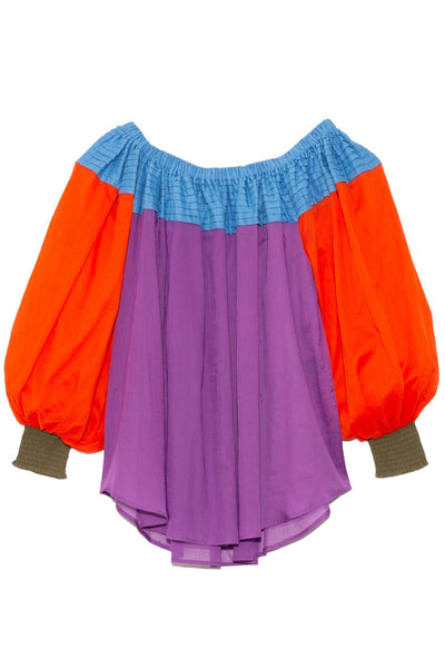 Sailor Blouse in Blue Greece/Purple/Tangerine