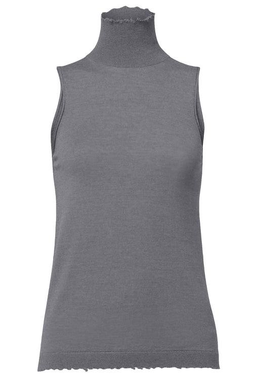 Drapy Fantasy Sleeveless Turtleneck in Cashmere Grey