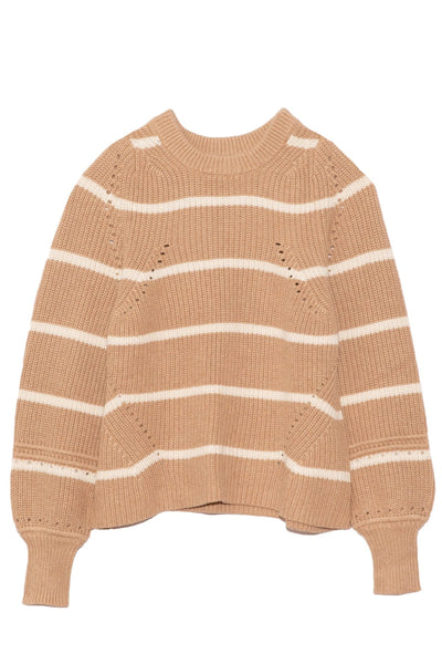 Celeste Crop Knit in Cream Camel Stripe