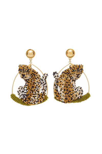 Leopard Swing Earring in Nude/Black