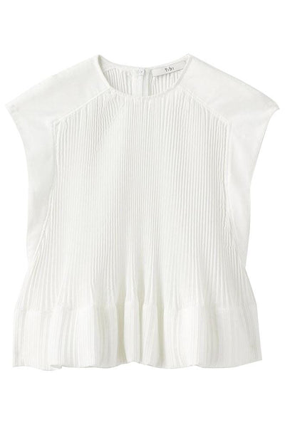 Pleated Cotton Yoke Pleated Top in White
