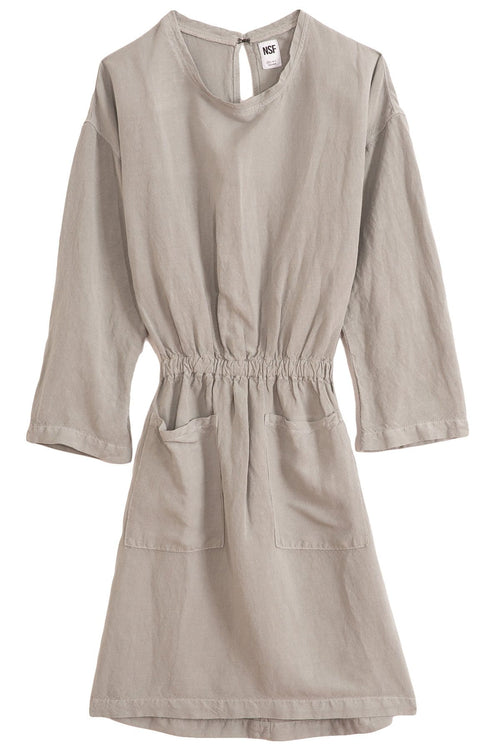 Lulyisa Drop Shoulder Dress in Pale Grey