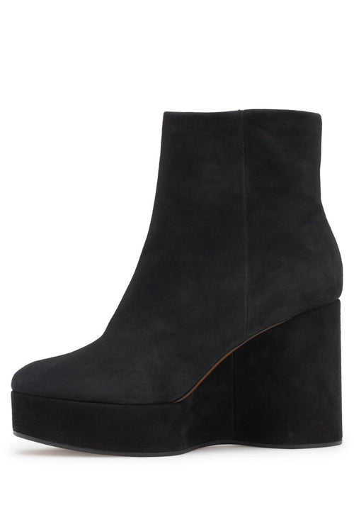 Belen Suede Wedge Booties in Black
