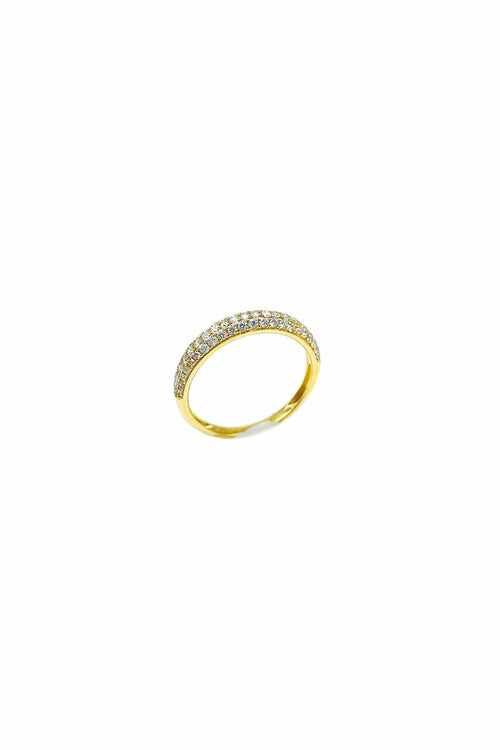 Pave Diamond Band in Yellow Gold