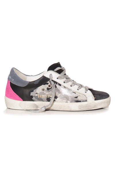 Superstar Sneaker in Black/Camouflage/White/Silver/Fuchsia