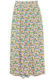 Sabine Floral Pull on Cocoon Skirt in Grey Multi