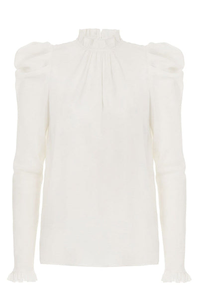 Silk Drape Shoulder Blouse in Pearl