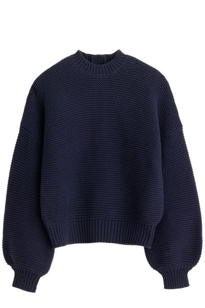 Button-Back Crewneck Sweater in Dark Navy
