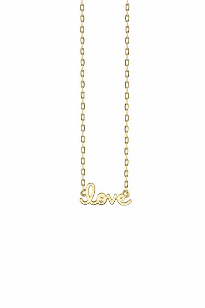 Tiny Pure Love Script Necklace in Yellow Gold