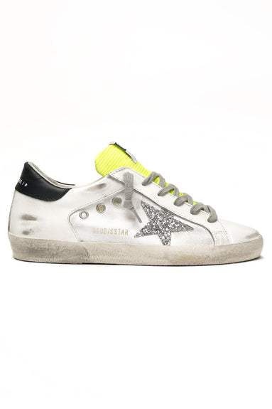Superstar Sneaker in White Leather/Silver Glitter Star/Fluo