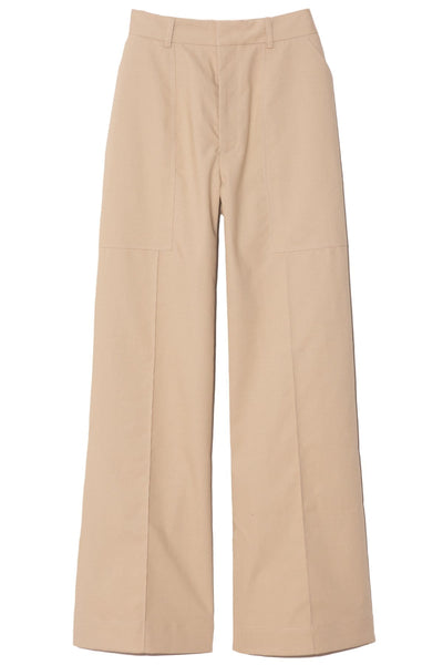 Patch Pocket Trousers in Taupe