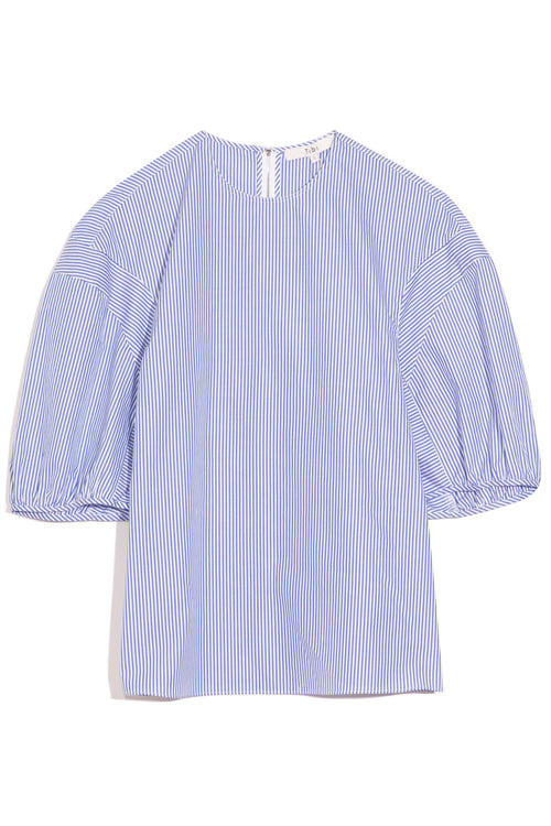Striped Shirting Balloon Sleeve Crewneck Top in Blue Multi