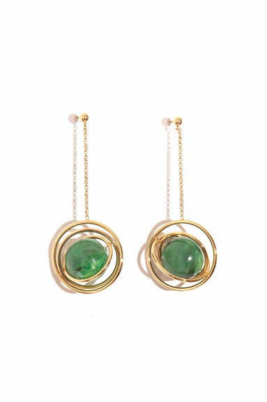 Saturn Pendant Earring in Gold/Malachite