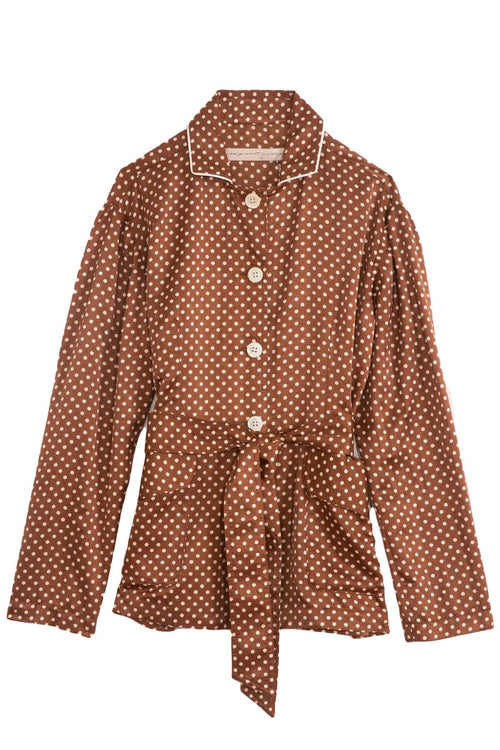 Relaxed Blazer in Brown Sand Polka Dot