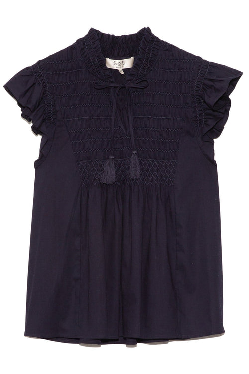 Gladys Hand Smocking Short Sleeve Top in Navy