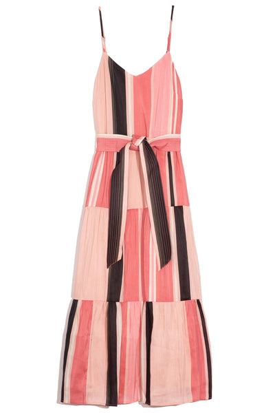 Marjana Spaghetti Dress in Sunset Papaya Stripe