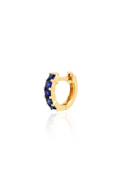 Single Blue Sapphire Princess Mini Huggie in Yellow Gold