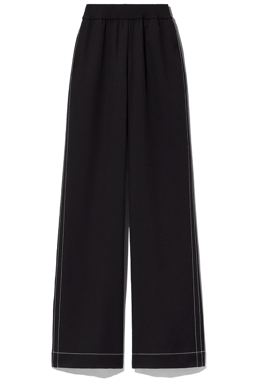 Rumpled Pique Pajama Pant in Black