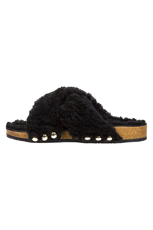 Wild Touch Shearling Sandal in Pure Black