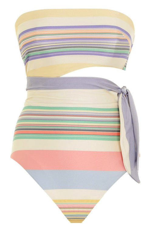 Mae Scarf Tie One Piece in Multi Stripe