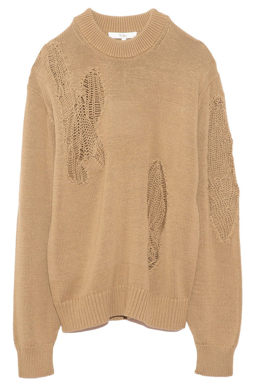 Applique Cotton Crewneck Pullover in Earth Green