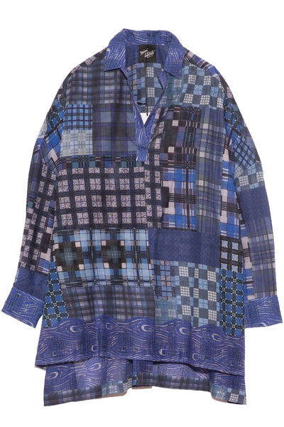 Over Blouse in Blue Tartan