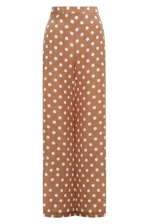 Silk Wide Leg Pant in Tan/Pearl Dot