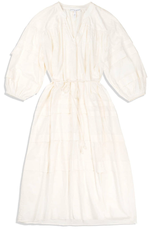 Mari Pintuck Dress in Cream