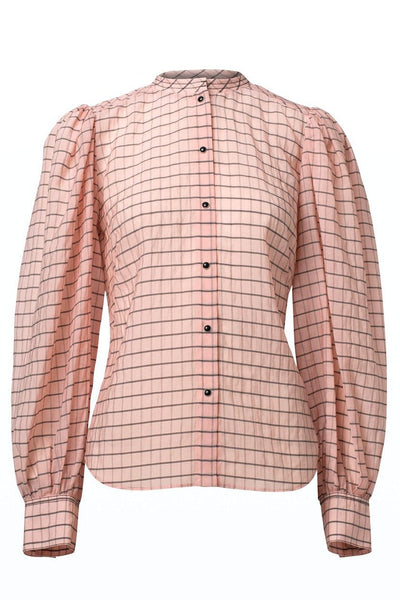 Checked Transparencies Button Down Blouse in Rose Check TS