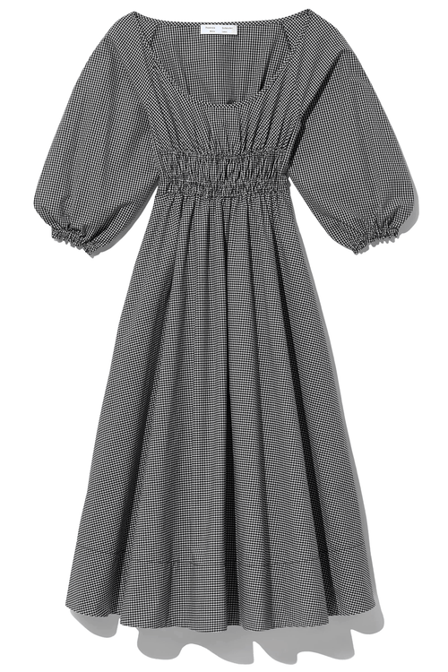 Yarn Dye Plaid Full Sleeve Dress in Black/White