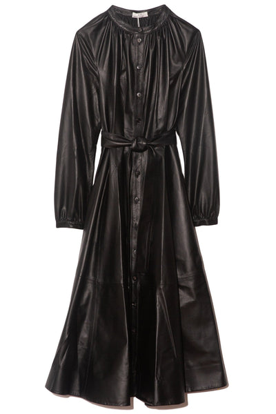 Long Sleeve Thin Leather Dress in Black