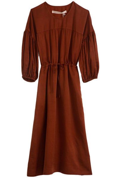 Silk Sateen Bell Sleeve Dress in Dark Mocha