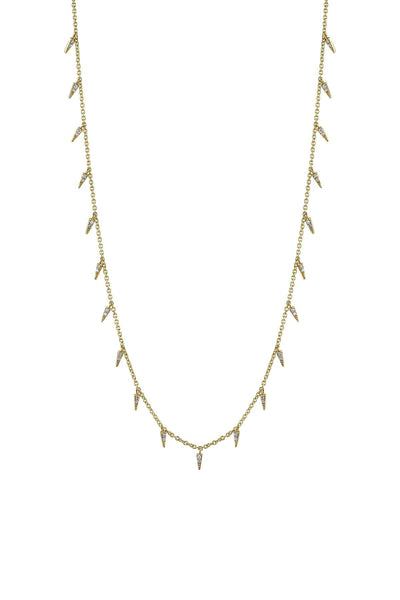 Small Pave Fringe Necklace in Yellow Gold
