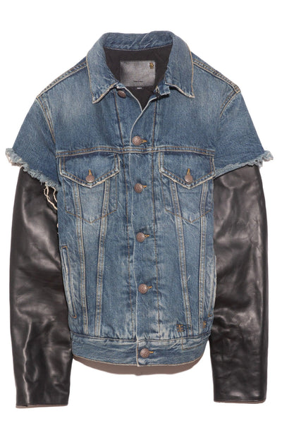 Sky Trucker Jean Jacket with Leather Sleeve in Kelly/Leather